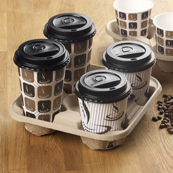 360x Disposable 2 Cup Carry Trays Recycled Paper Pulp Drink Holder Carrier