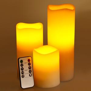 Wave Rim Crystal LED Candle Set Ivory