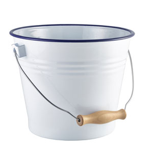 Genware Enamel Bucket White with Blue Rim 16cm