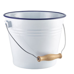 Enamel Bucket White with Blue Rim 22cm