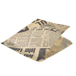 Brown Greaseproof Newspaper Printed Presentation Bags 17.5cm