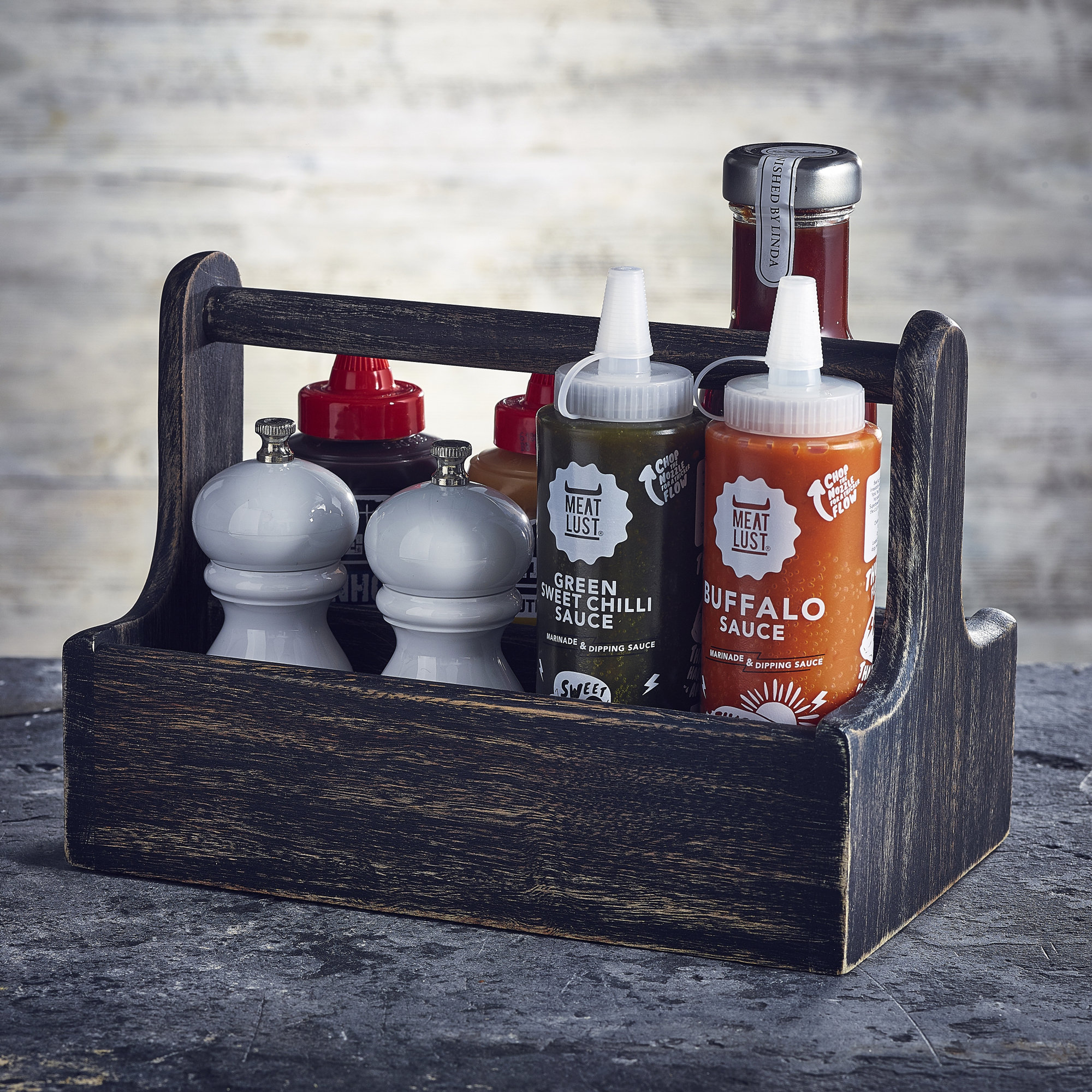 Genware Wooden Table Caddy Black