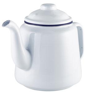 Enamel Teapot White with Blue Rim 52.75oz / 1.5ltr