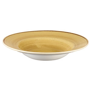 Churchill Stonecast Mustard Seed Yellow Wide Rim Bowl 9.4 Inch / 24cm