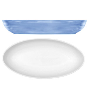 Modern Rustic Oval Dishes Blue 28cm