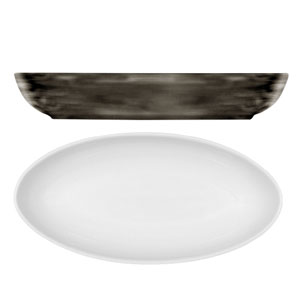 Modern Rustic Oval Dishes Wood 23cm