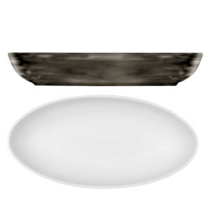 Modern Rustic Oval Dishes Wood 28cm