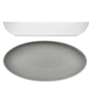 Modern Rustic Oval Dishes Stone 28cm