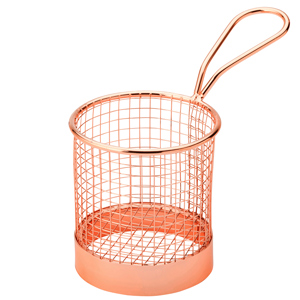 Utopia Mini Presentation Round Fry Basket Copper 9.3 x 9cm