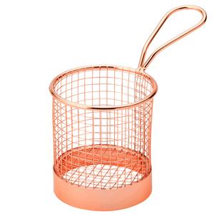 Utopia Mini Presentation Round Fry Basket Copper 9.3 x 9cm