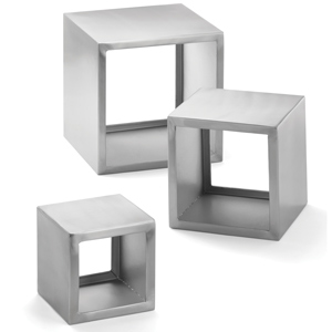 3 Piece Brushed Stainless Steel Riser Set