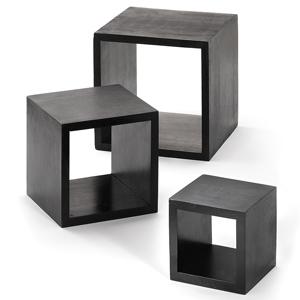 3 Piece Black Wood Riser Set
