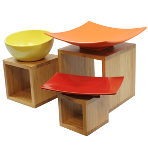 Image of 3 Piece Bamboo Wood Riser Set (Single)