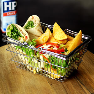 Mini Food Presentation Shopping Basket Black Handles
