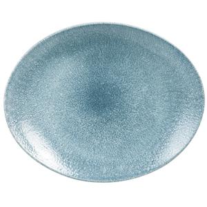 Studio Prints Raku Oval Coupe Plates Topaz Blue 12.5inch / 31.7cm