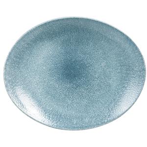 Studio Prints Raku Oval Coupe Plates Topaz Blue 10.62inch / 27cm
