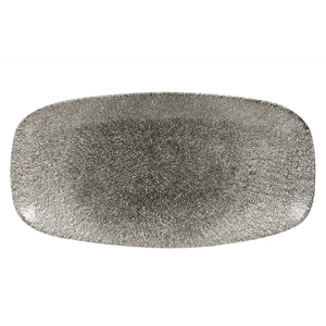 Studio Prints Raku Chefs Oblong Plates Quartz Black 11.75inch / 29.8cm
