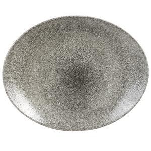 Studio Prints Raku Oval Coupe Plates Quartz Black 12.5inch / 31.7cm