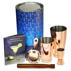 Copper Tin on Tin Cocktail Shaker Set