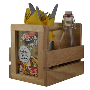 Wooden Condiment Caddy with Menu and Sign Holder