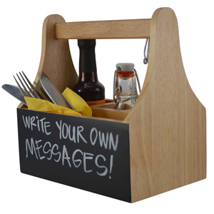 Wooden Table Caddy with Chalkboard
