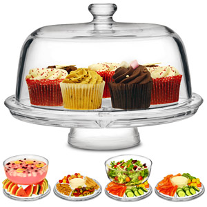 Glass Multifunctional Cake Stand and Dome