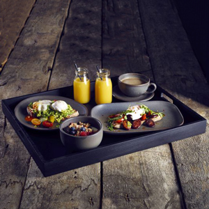 Solid Black Butlers Tray 49 x 38.5 x 4.5cm