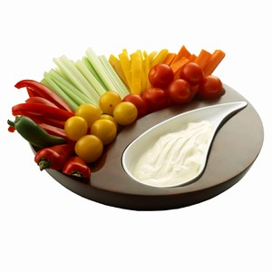 Drinkstuff - Crudites Round Sheesham Wood and Ceramic Dip Set Wooden Circle Dips Food Eat Chip Chips Salad White Glaze Party Dipper Dippers Nibbles UK Buy