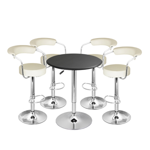 Zenith Bar Stool Cream & Black Faux Leather Table