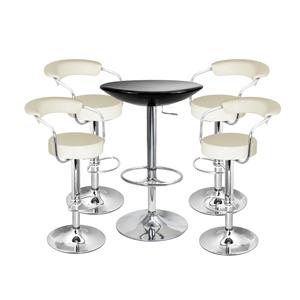 Zenith Bar Stool Cream & Black Podium Table