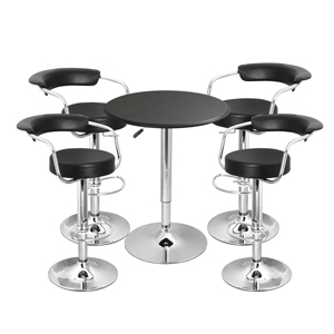 Zenith Bar Stool Black & Black Faux Leather Table