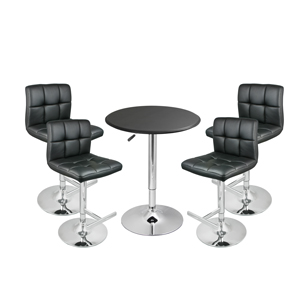Grid Bar Stool Black & Black Faux Leather Table