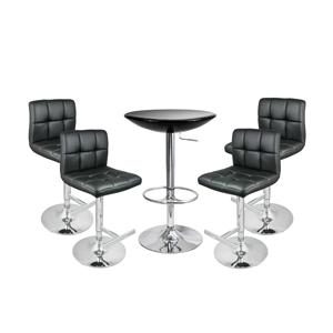 Grid Bar Stool Black & Black Podium Table