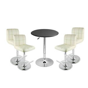 Grid Bar Stool Cream & Black Faux Leather Table