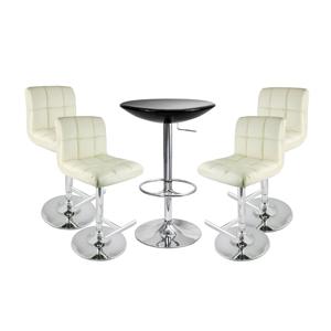 Grid Bar Stool Cream & Black Podium Table