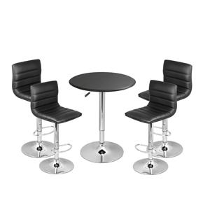 Ridge Bar Stool Black & Black Faux Leather Table