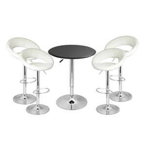 Faux Leather Crescent Bar Stool White & Black Faux Leather Table