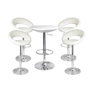 Faux Leather Crescent Bar Stool White & White Podium Table