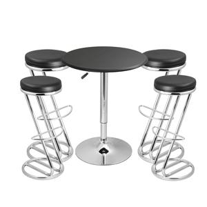 Zed Italian Breakfast Bar Stool Black & Black Faux Leather Table