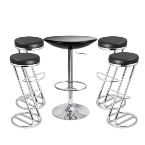 Zed Italian Breakfast Bar Stool Black & Black Podium Table
