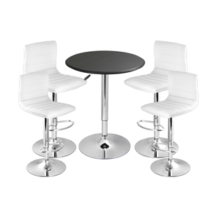 Ridge Bar Stool White & Black Faux Leather Table
