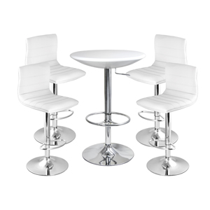 Ridge Bar Stool White & White Podium Table