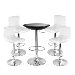 Ridge Bar Stool White & Black Podium Table