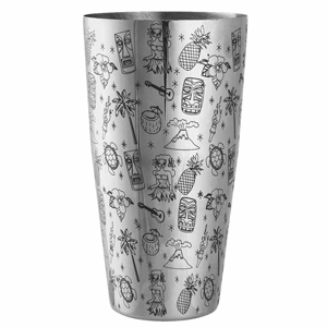 Tiki Pattern Boston Cocktail Shaker 30oz / 850ml
