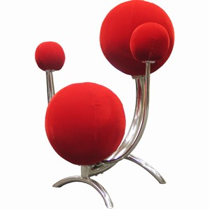 Drinkstuff - Solar System Chair Chairs Funky 4 Ball Stool Funk Cool Bar Stool New Contemporary Red Velvet Stainless Steel Chrome Bar Seat Seating Armchair Arm UK Buy