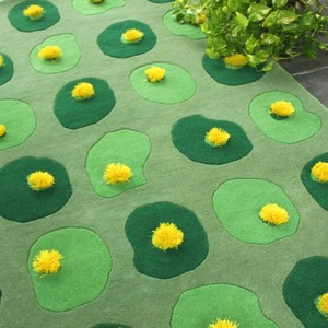 Drinkstuff - Lotus Moss Rugs Green Yellow Lily Pad Pads Light Dark Circle Circles Rug Carpet Carpets Mat Pom Pomm Pompom Poms Matt Mats Matts Handmade Hand Made Tufted Wool Weave India Large Small Big