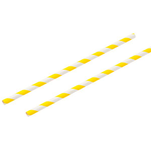 Yellow & White Paper Straws 8inch
