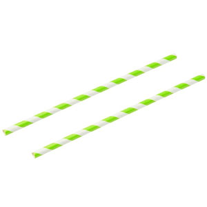 Green & White Paper Straws 8inch