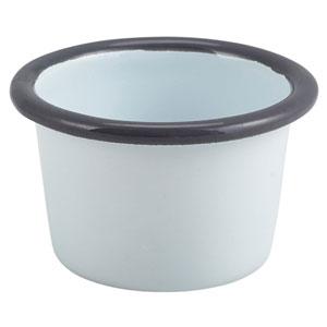 Enamel Ramekin White and Grey 3.2oz / 90ml