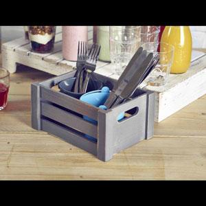 Genware Wooden Crate Grey Finish 22.8 x 16.5 x 11cm